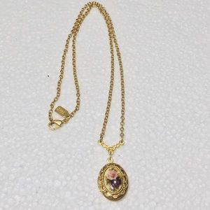 Vintage 1928 Floral Locket and Chain